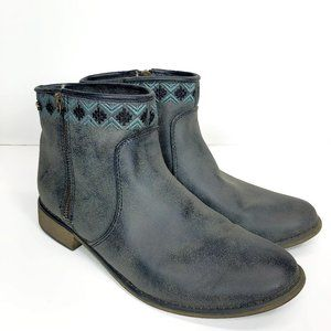 Roxy Sita Size 8 Embroidered Zip up Ankle Boots